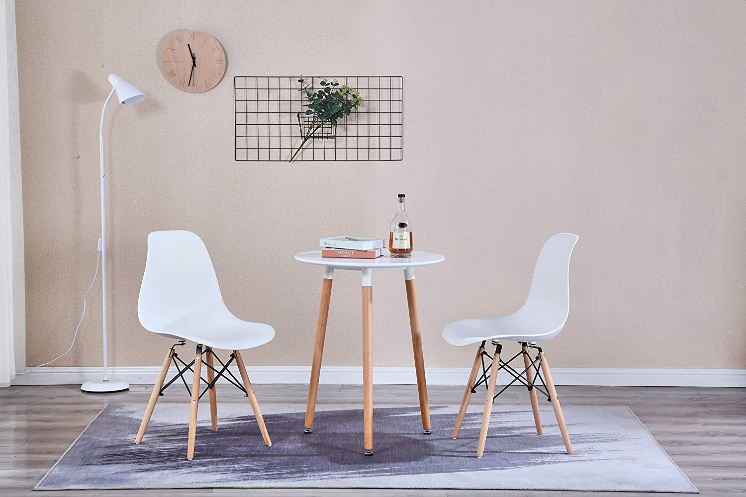 RayGar Lite Dining Table and Chairs 2 Eiffel Style Plastic Designer Inspired Chairs and Round Dining Table Grey