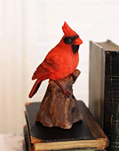 Ebros Gift Realistic Hand Painted Red Cardinal Bird Perching On Tree Stump Guest Greeter with Built in Motion Activated Sensor Chirping Sound Statue 6.5