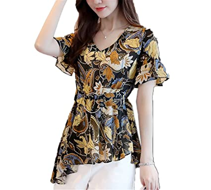 9321641aaf3 SCGOLD Summer Style Blouses Chiffon Floral Printed Tops V-Neck Short Sleeve Women  Shirts Black