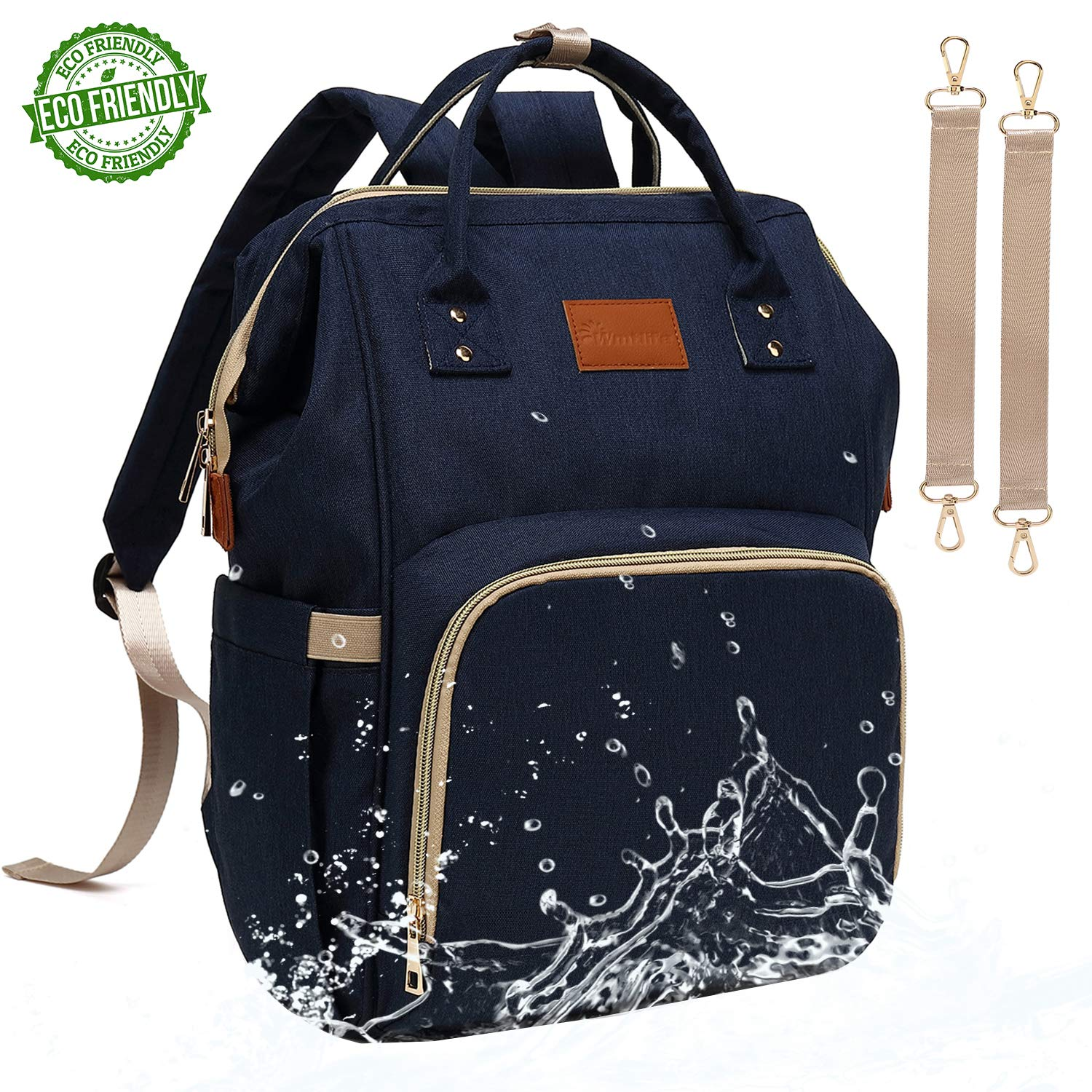 Baby Diaper Bag Backpack – Large Diaper Backpack for Mom Dad with Stroller Straps, Multi-Function, Waterproof, Stylish and Durable Travel Diaper Bags for Girls and Boys (Navy Blue) by Wmtlife (Image #1)