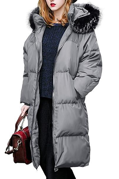 you.u 【Últimos Tres días Oferta Abrigo Largo de Invierno para Mujer con Capucha de Piel Sintética: Amazon.es: Ropa y accesorios