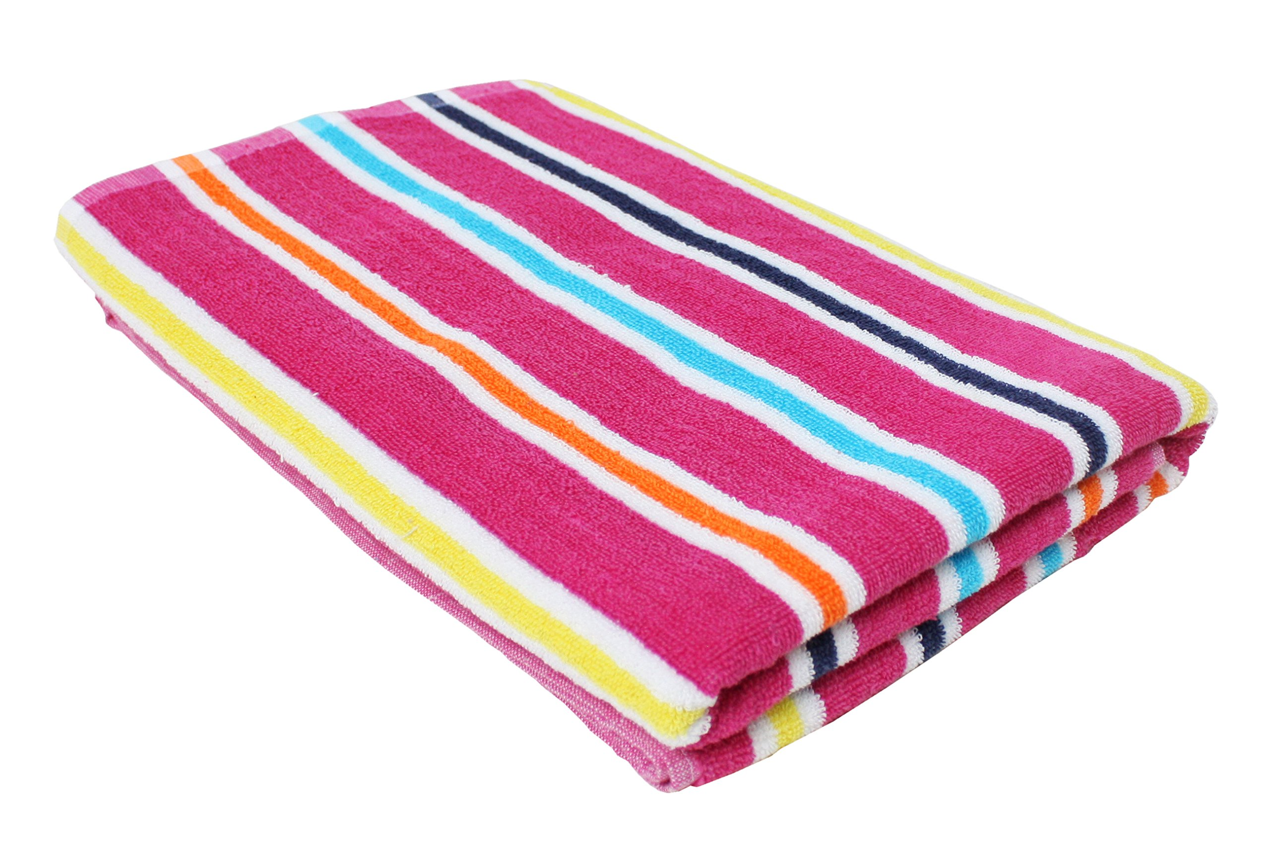 Candy Stripe Terry Cotton Beach Towel, 32x64'', Soft Absorbent and Dry Fast for Swimming Pool, Beach and Spa-Pink
