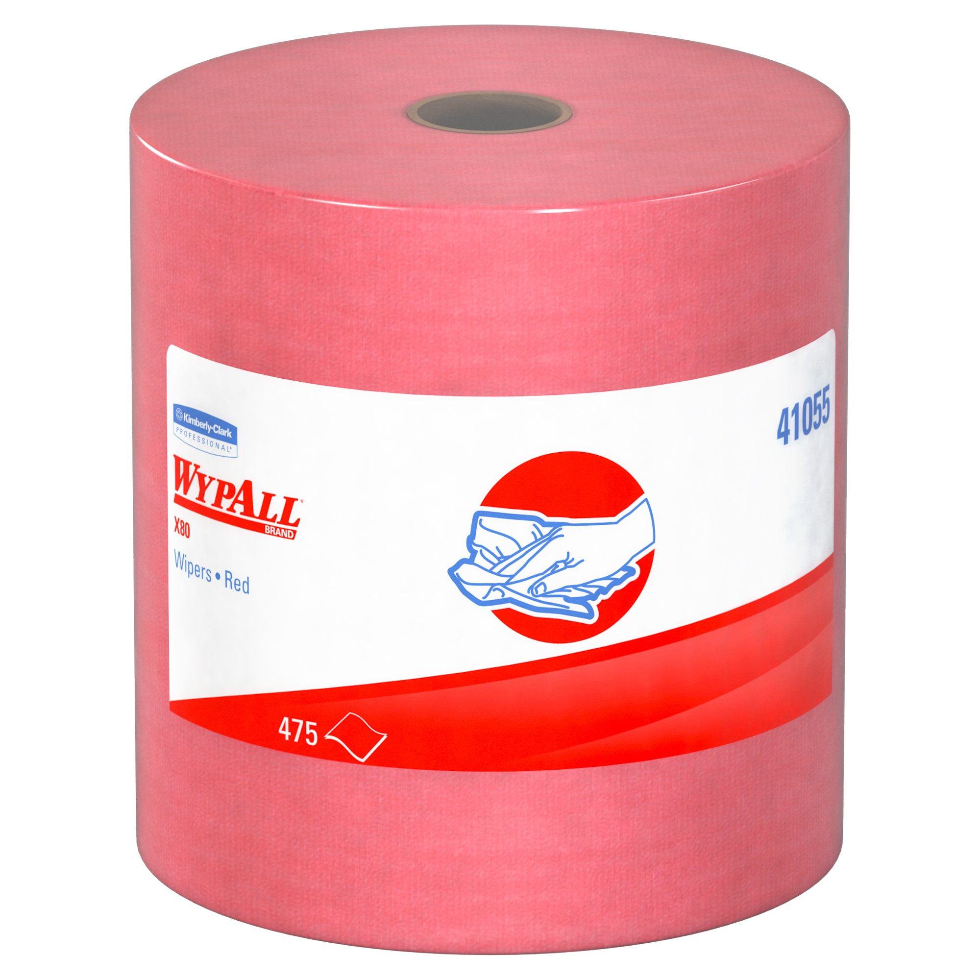 Wypall X80 Reusable Wipes (41055), Extended Use Cloths Jumbo Roll, Red, 475 Sheets/Roll; 1 Roll/Case