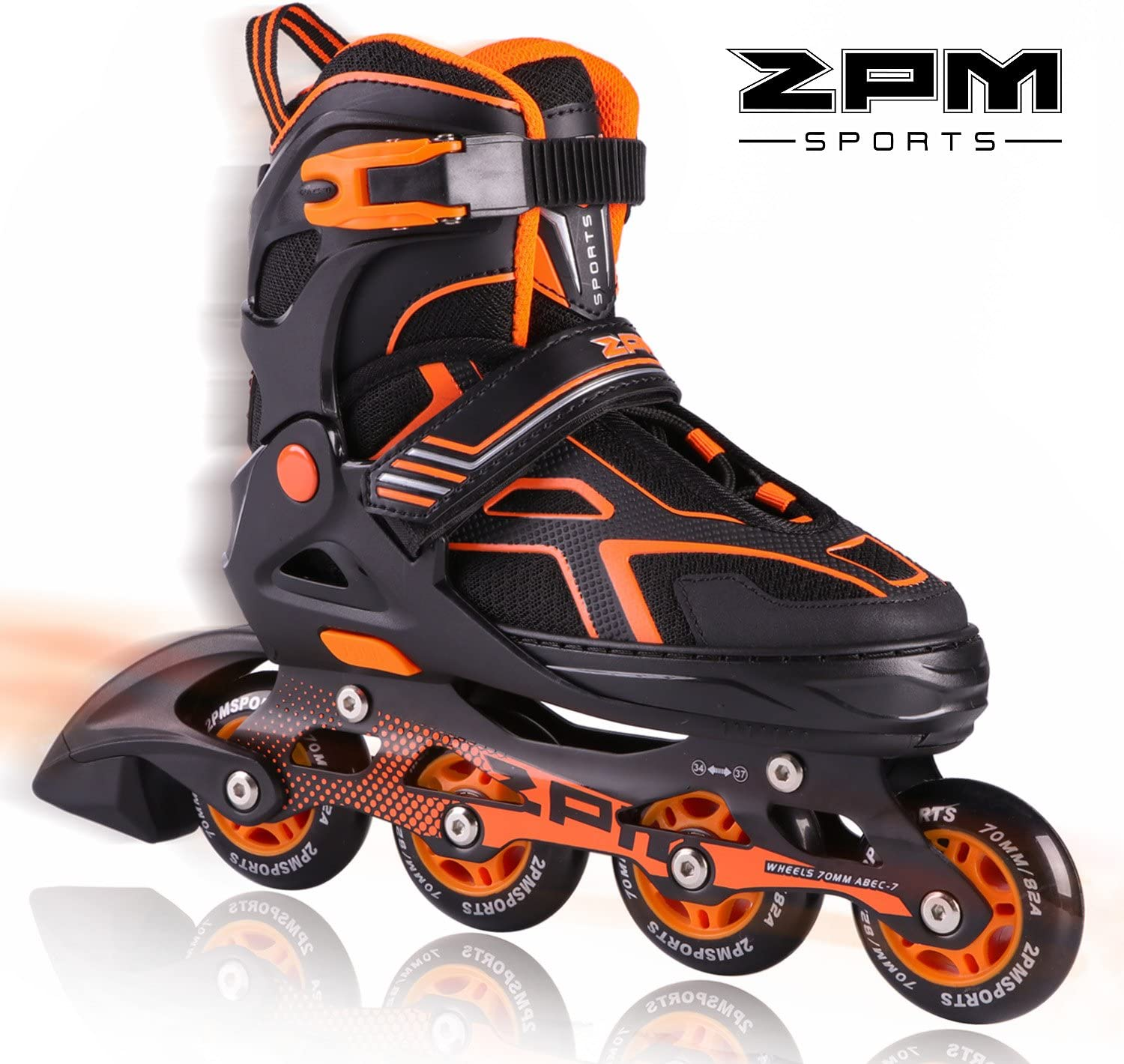 2PM SPORTS Torinx Orange Red Green Black Boys Adjustable Inline Skates, Fun Roller Blades for Kids, Beginner Roller Skates for Girls, Men and Ladies