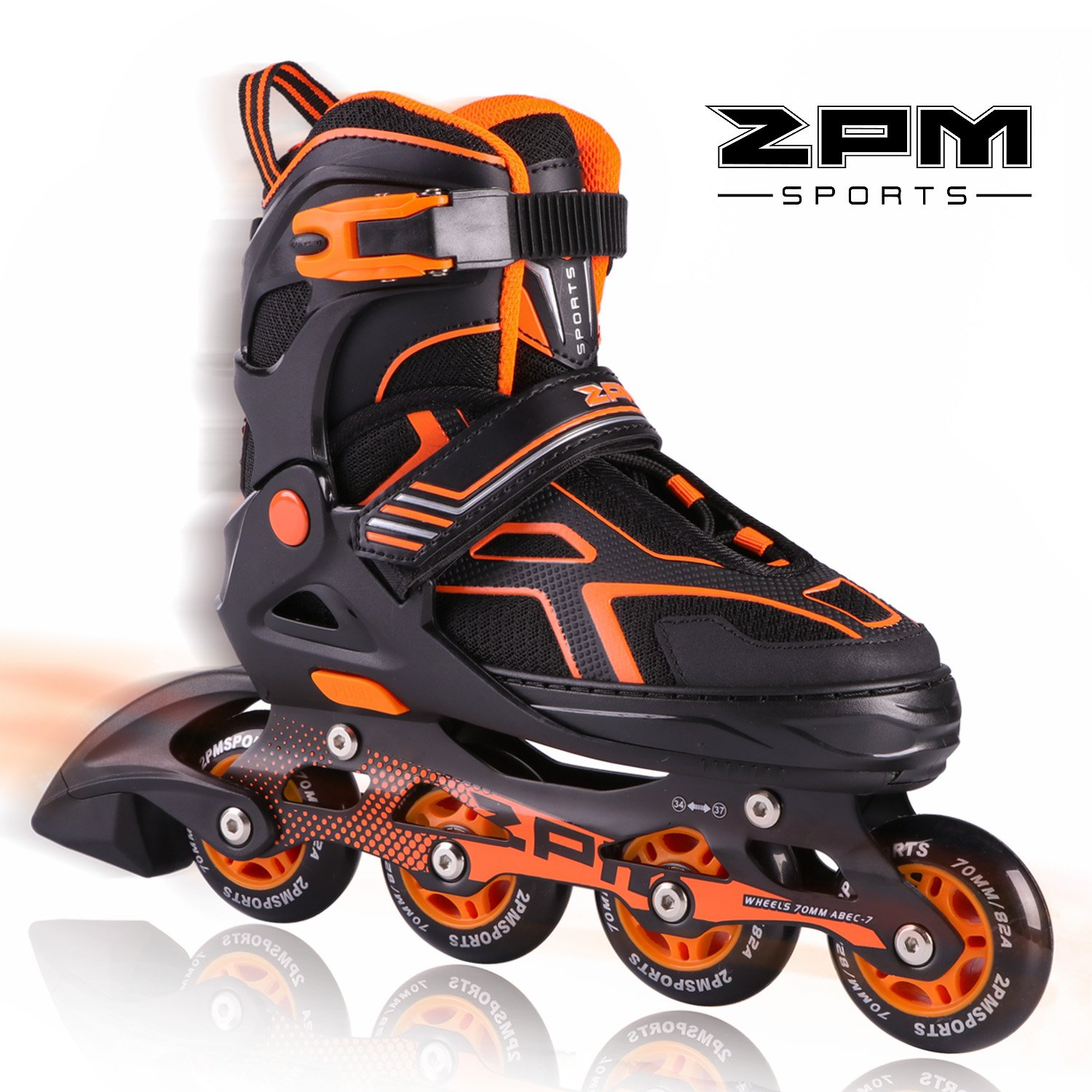 2PM SPORTS Torinx Orange Black Boys Adjustable Inline Skates, Fun Skates for Kids, Beginner Roller Skates for Girls, Men and Ladies - Medium (US 2-5) by 2PM SPORTS (Image #1)