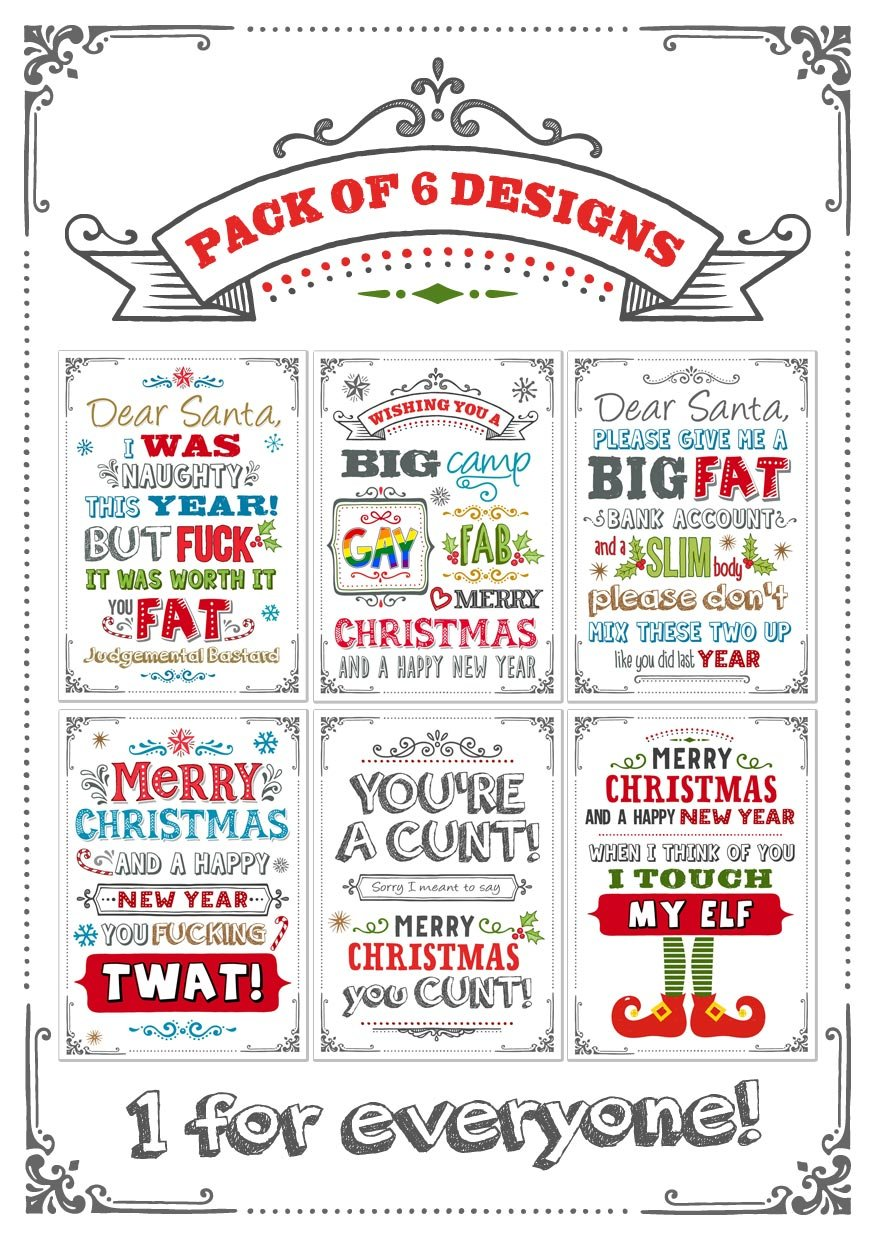 Adult Humour Funny- Christmas Cards - Pack of 6 Designs: Amazon.co ...