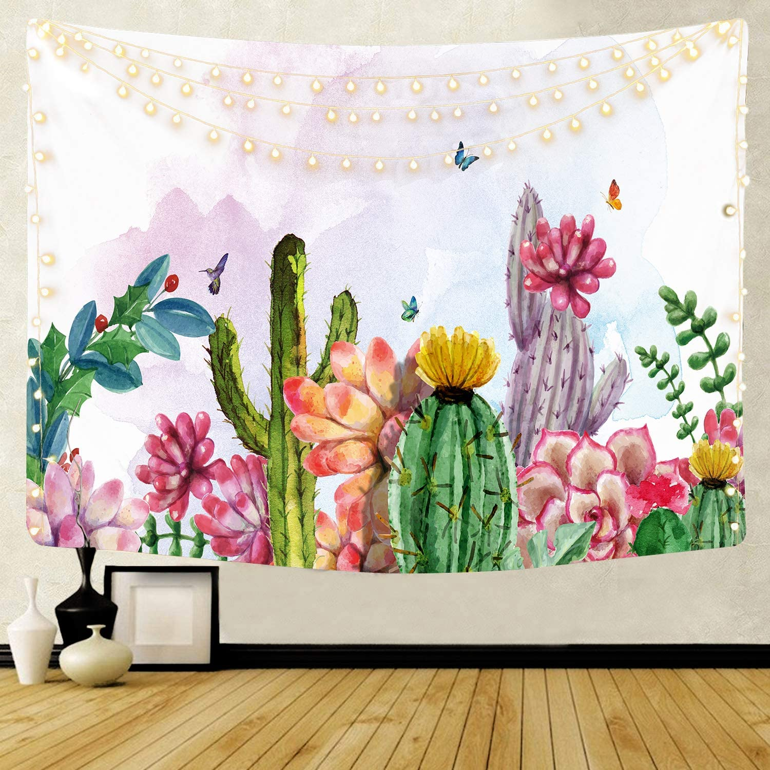 TIAQUN Cactus Tapestry,Watercolor Flower Cactus Tapestry Wall HangingTropical Landscape Desert Succulent Plant Tapestry for Home Decor.59x51Inch