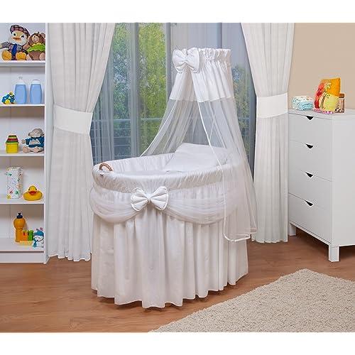 WALDIN Landau/berceau pour bébé complet,4 modèles disponibles,Cadre/Roues non traitée, couleur du tissu blanc