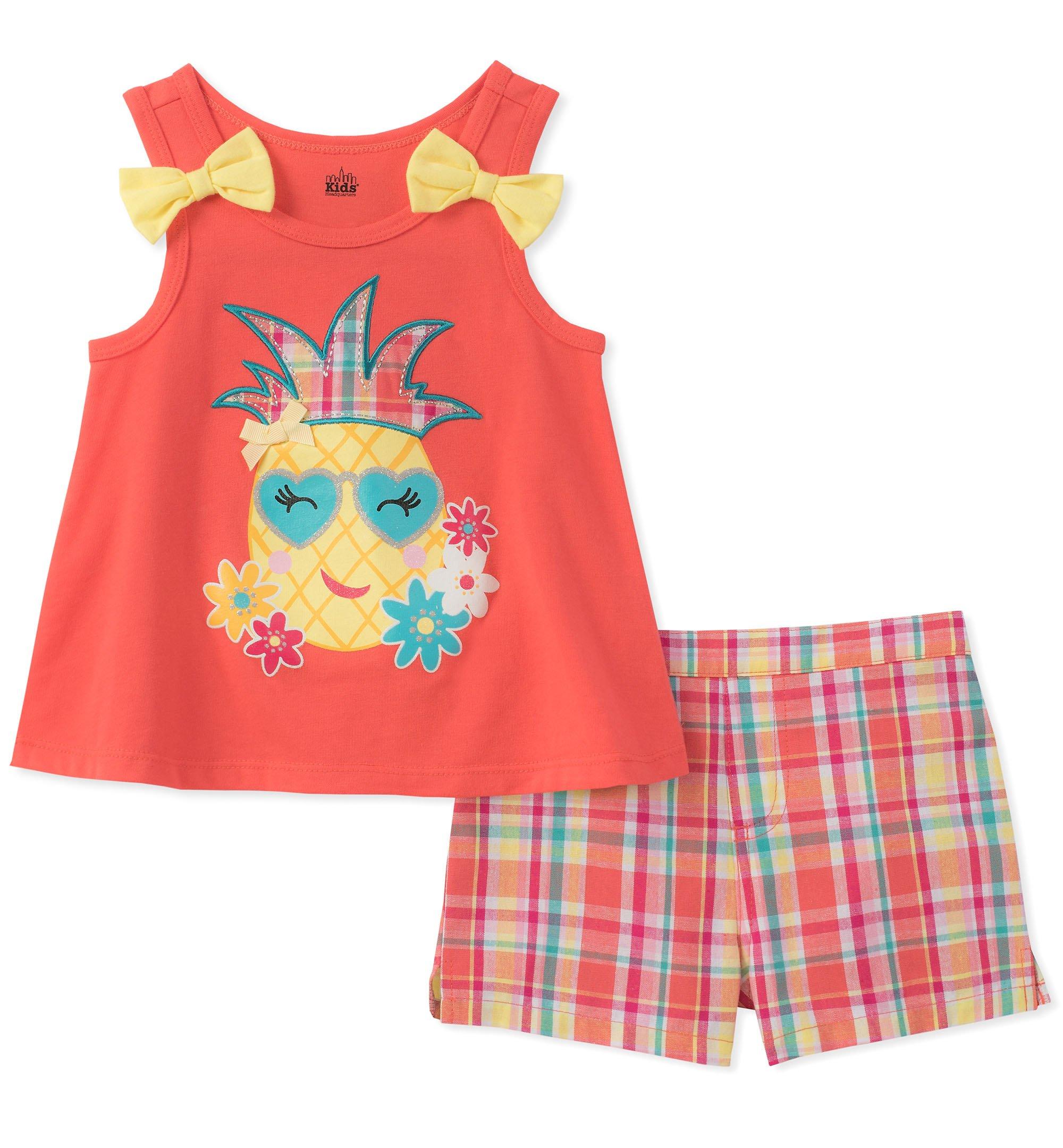 Kids Headquarters Toddler Girls' 2 Pieces Shorts Set, Orange, 4T