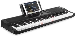 The ONE Smart Piano Keyboard with Lighted Keys, Electric Piano 61 keys, Home Digital Music Keyboard, Teaching Portable Keyboard Piano, Black