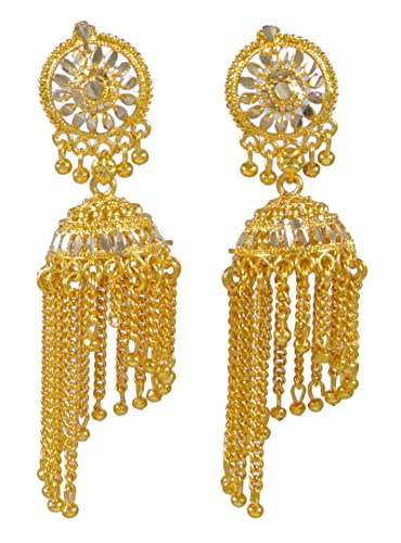 Banithani Traditional Ethnic Indian Goldplated Jhumka Earring Set Women Wedding Jewellery 229Wu