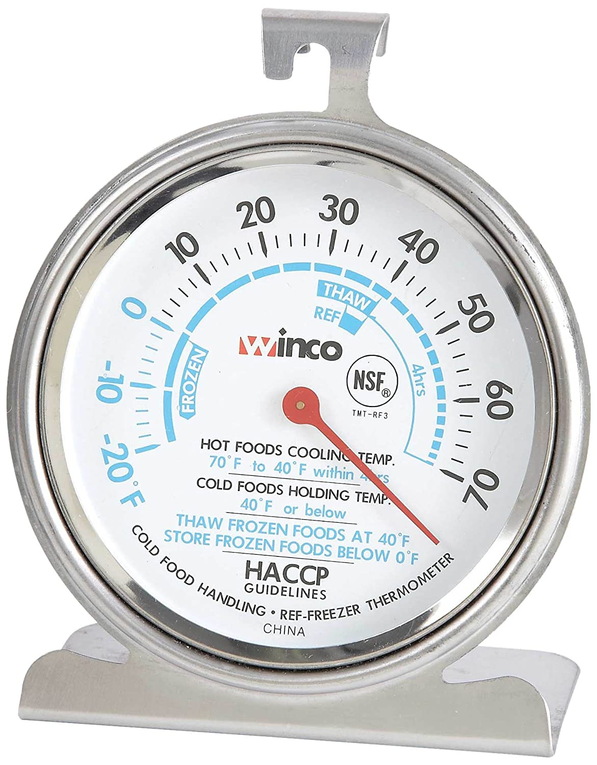 Winco Dial Refrigerator/Freezer Thermometer with Hook and Panel Base, 3-Inch Winco USA TMT-RF3