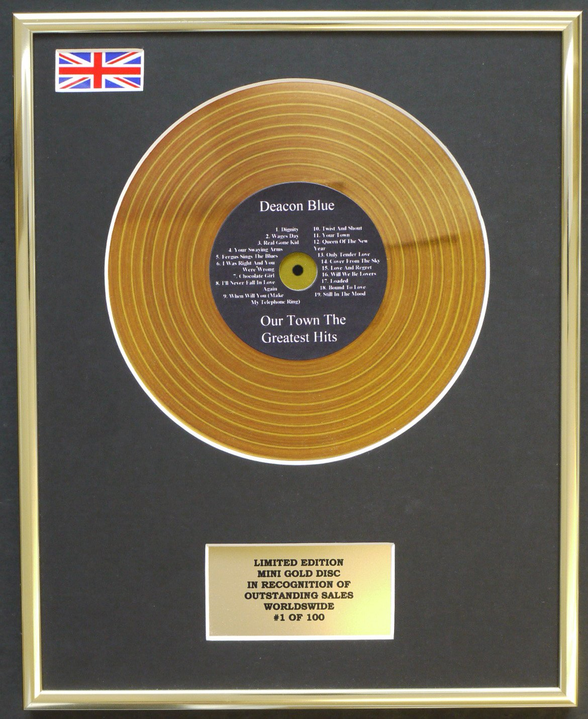 DEACON BLUE /MINI GOLD DISC DISPLAY/LIMITED EDITION/COA/ OUR TOWN THE GREATEST HITS Everythingcollectible