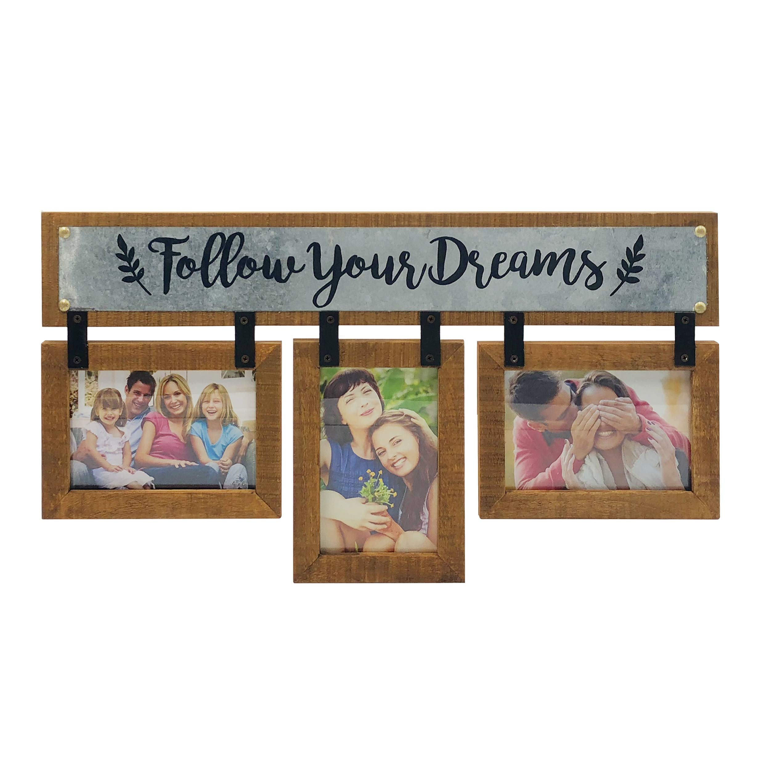 38f6c1e63171 OUCHAN 3 Opening 4X6 Wooden Wall Picture Photo Frame - Wall Photo Display  Set Distressed Horizontal Collage Picture Frames for Wall(Follow Your  Dreams)