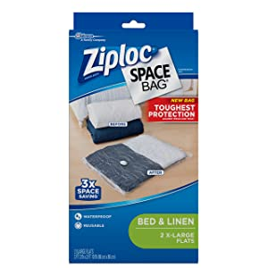 Ziploc Space Bag, XL Flat Bag, 2 Count