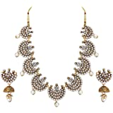Matushri Art Brass and Copper Traditional Indian Gold Necklace Set of Wedding Collection for Women