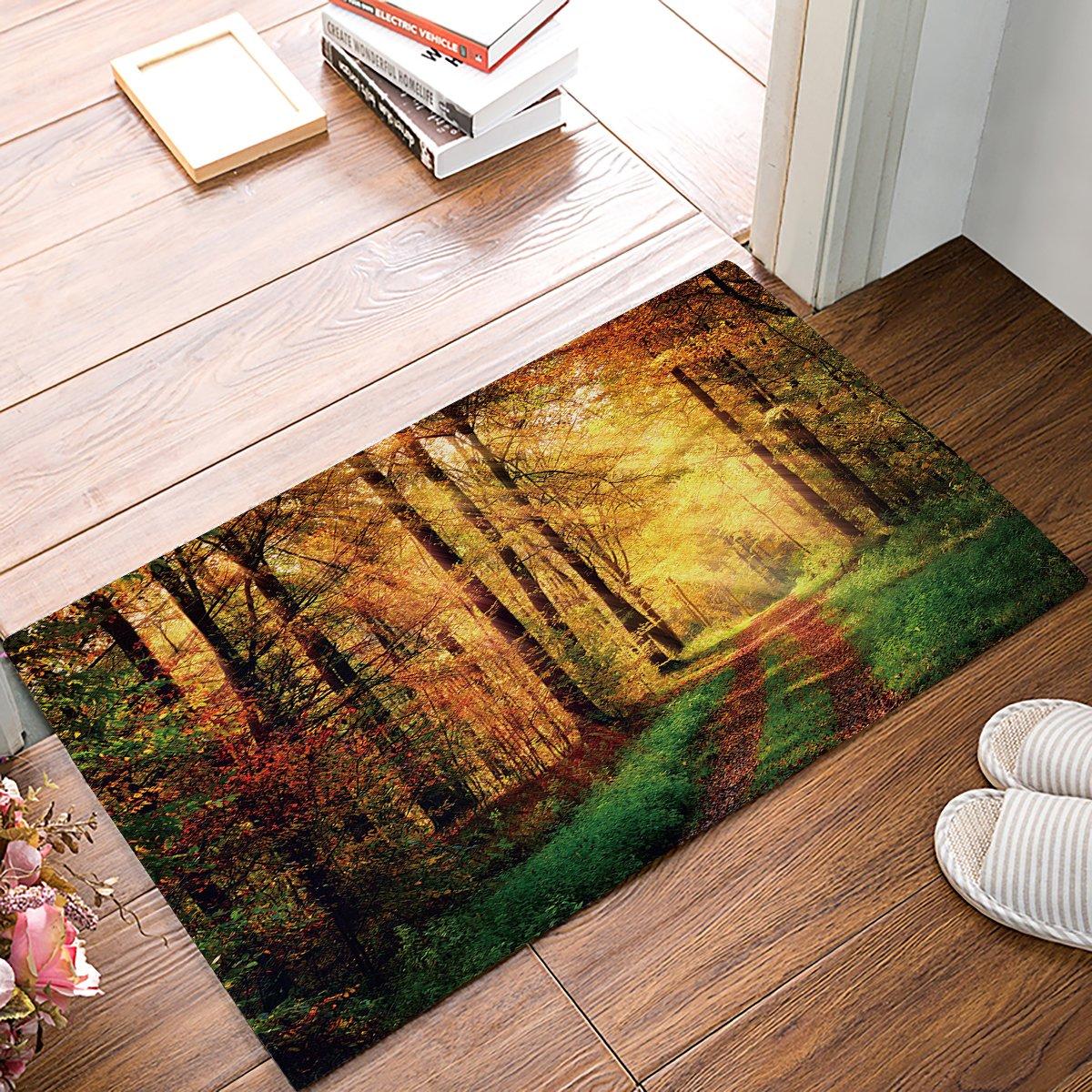 Libaoge Autumn Forest Scenery with Rays of Warm Sun Lights on Shady Trees Woods Doormat Welcome Mat Entrance Mat Indoor/Outdoor Door Mats Floor Mat Bath Mat