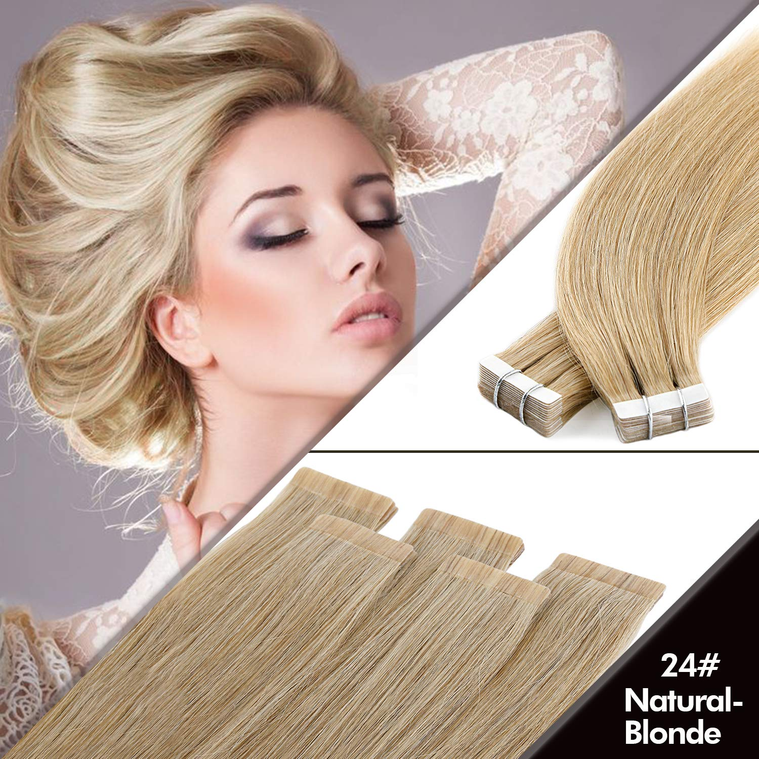 Vlasy 5A Grade Tape in Real Human Hair Extensions 12'' 20Pcs 25g Straight Tape Hair(60A#) Haoshan