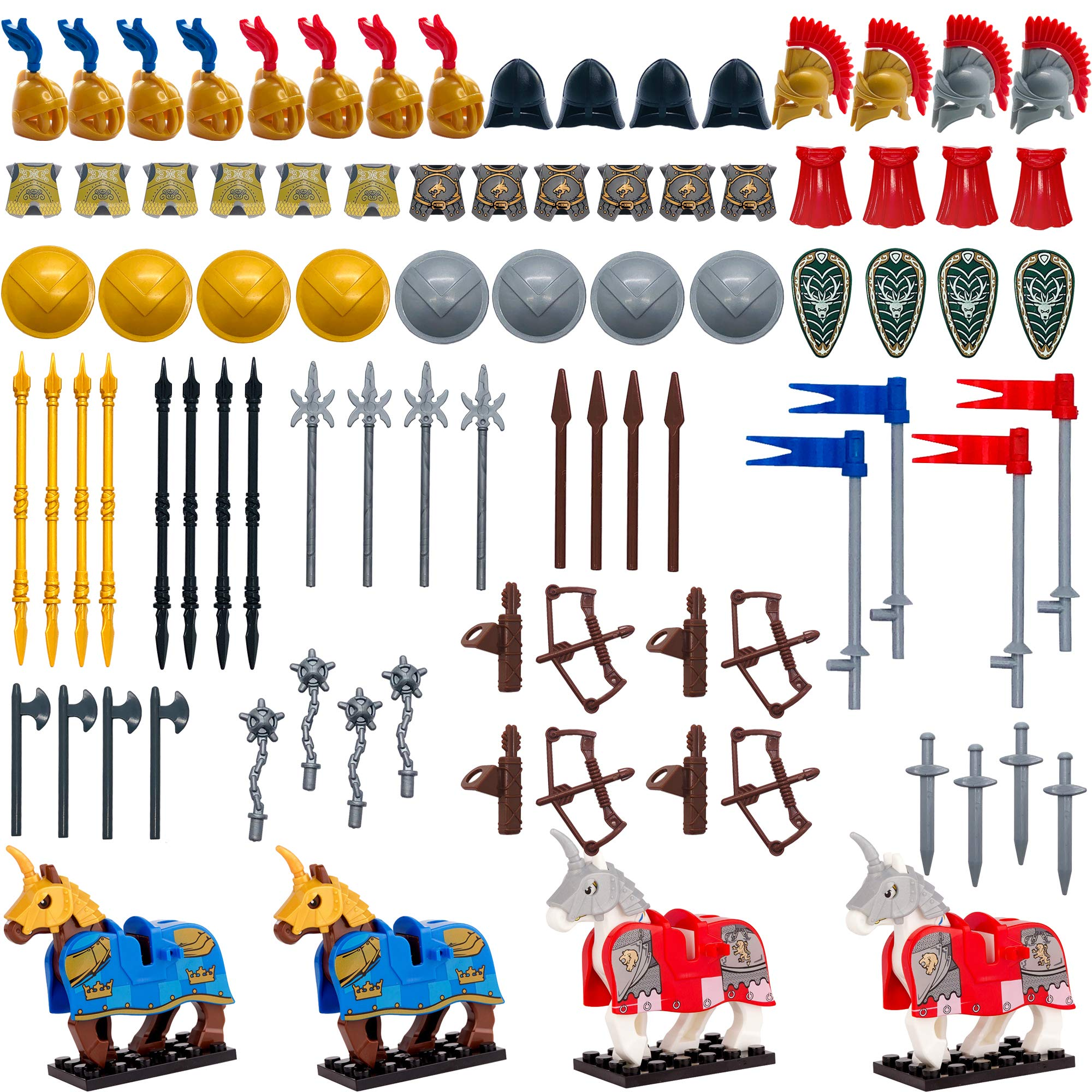 Taken All Custom Medieval Knight Weapons Pack Accessories kit Armor Helmet Shield Horses Bow Arrow for Kids Toys Compatible with Major Brands