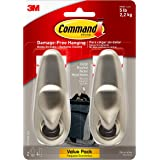 Command FC13-BN-2ES Large Forever Classic Metal, 2, 4 Strips Hook, Brushed Nickel, Count