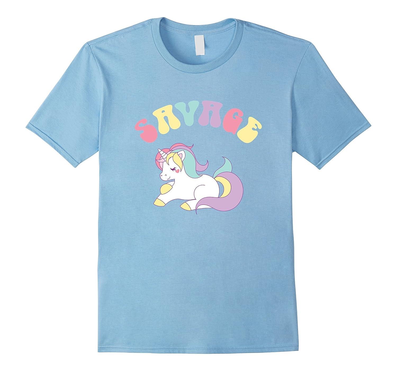 Savage Retro Rainbow Unicorn Cute Ironic T-Shirt-Art