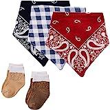Hudson Baby Unisex Baby Cotton Bib and Sock Set