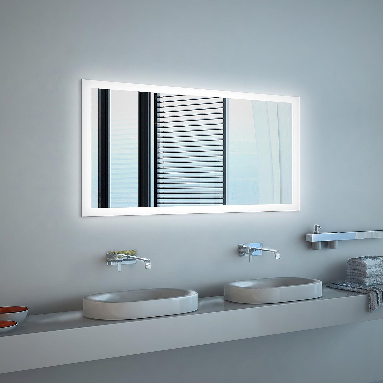 Noemi Design  LED BADSPIEGEL BADSPIEGEL BADSPIEGEL mit Beleuchtung - Made in Germany - individuell nach Maß - Auswahl  (Breite) 100 cm x (Höhe) 70 cm - LED Lichtfarbe  neutralweiß - Modell  2201001 1b1b83