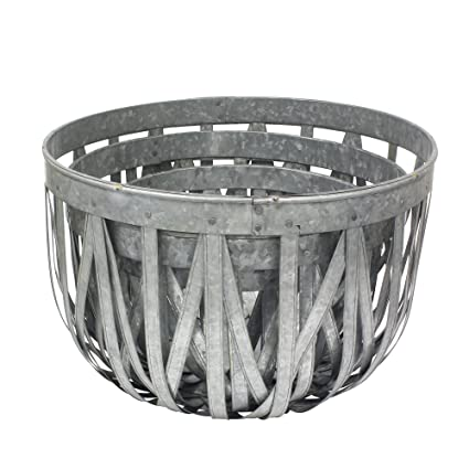 Attrayant Stonebriar Large Round 3pc Galvanized Metal Basket Set, Industrial Home  Decor Accents, Decorative Storage