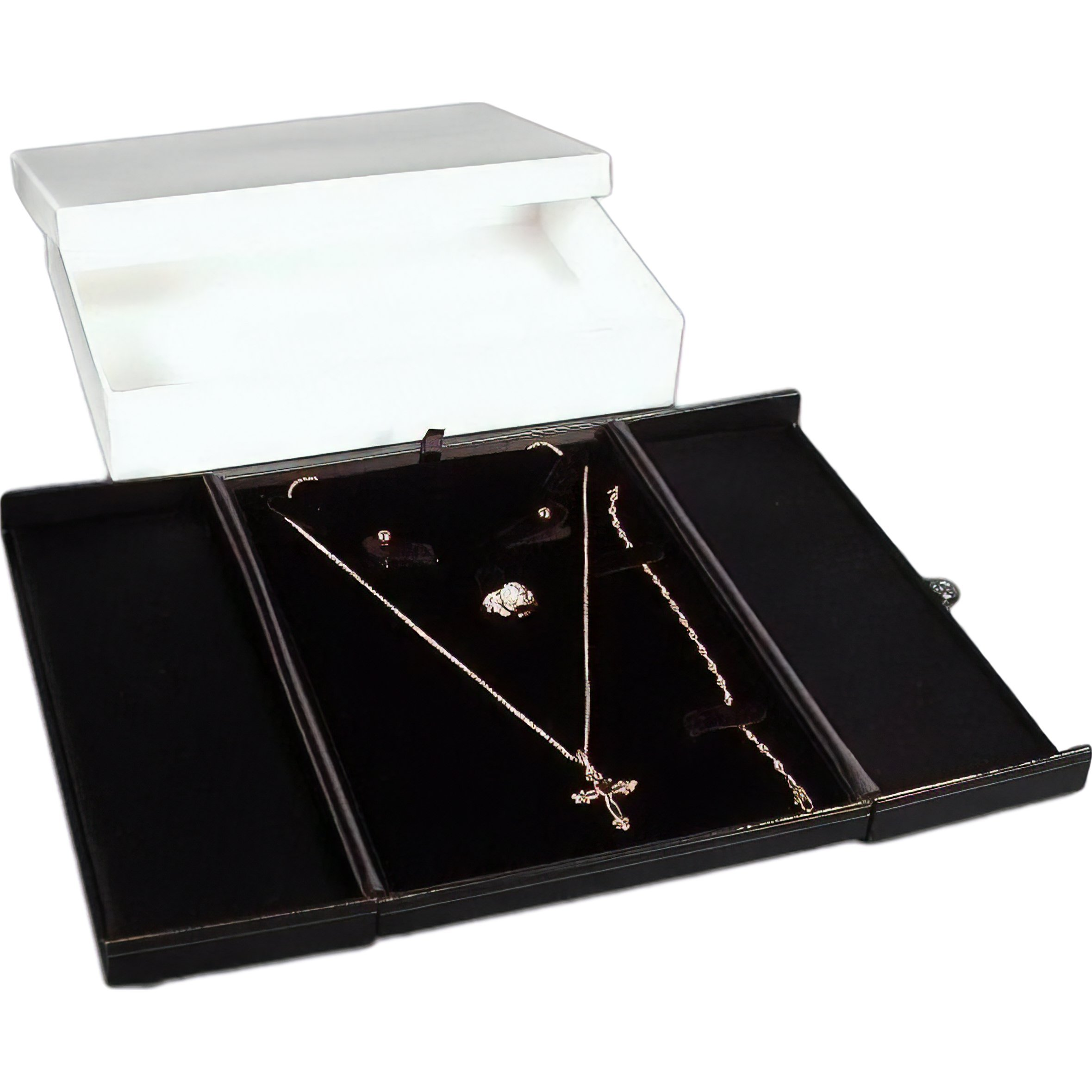 FindingKing Black Earring Ring Necklace Bracelet Combo with Gift Box Display