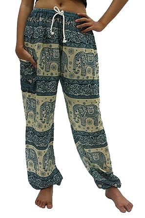 eeb82633da9b9 Bangkokpants Unisex Hippie Boho Elephant Pants One Size US Size 0-12  (Green) at Amazon Women's Clothing store: