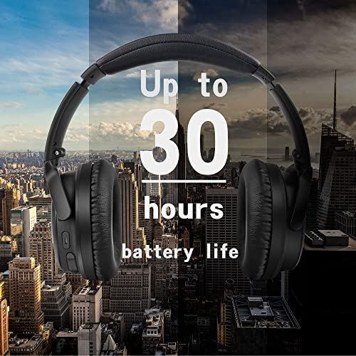 Active Noise Cancelling Headphones, Apollo 11 Bluetooth Headphones with Mic Deep Bass Hi-Fi Sound, Wireless Foldable Headphones, 30 Hours Battery Life for Traveling TV PC Cellphone