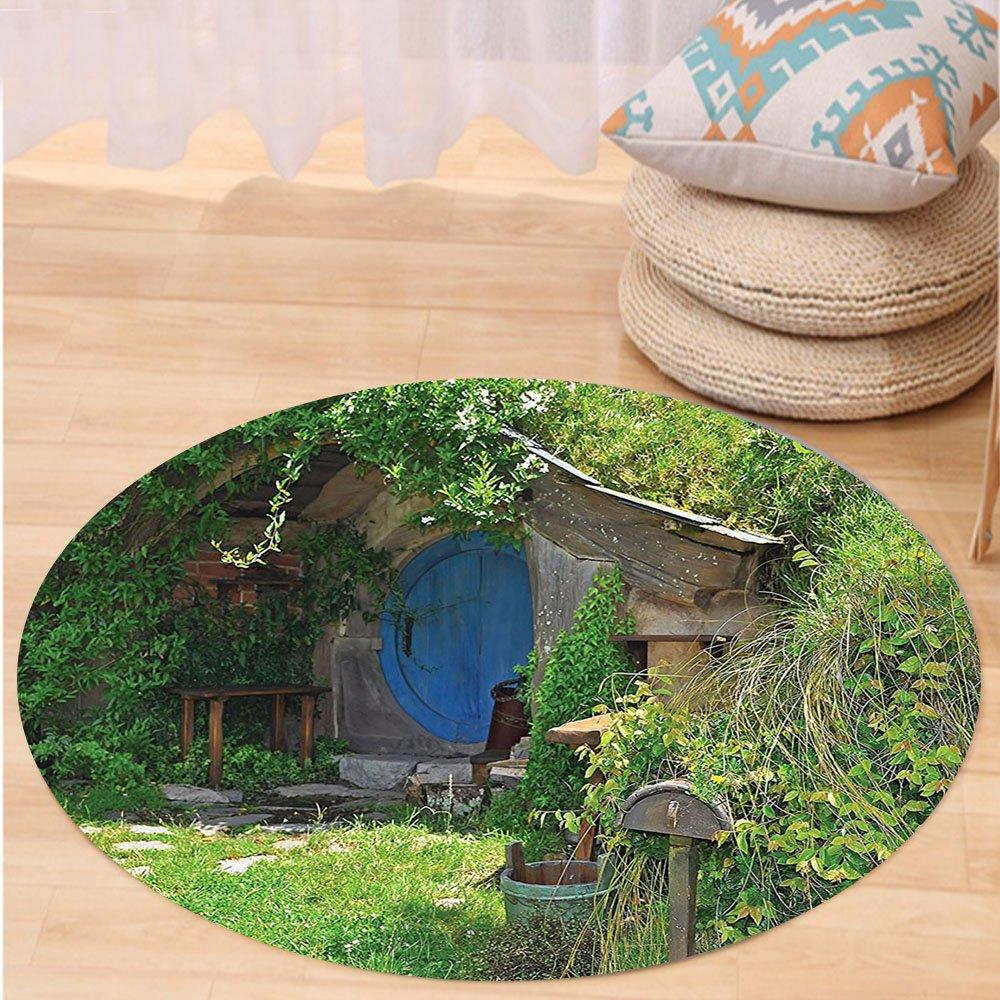 VROSELV Custom carpetHobbits Fantasy Hobbit Land House in Magical Overhill Woods Movie Scene Image New Zealand Bedroom Living Room Dorm Decor Green Brown Blue Round 72 inches