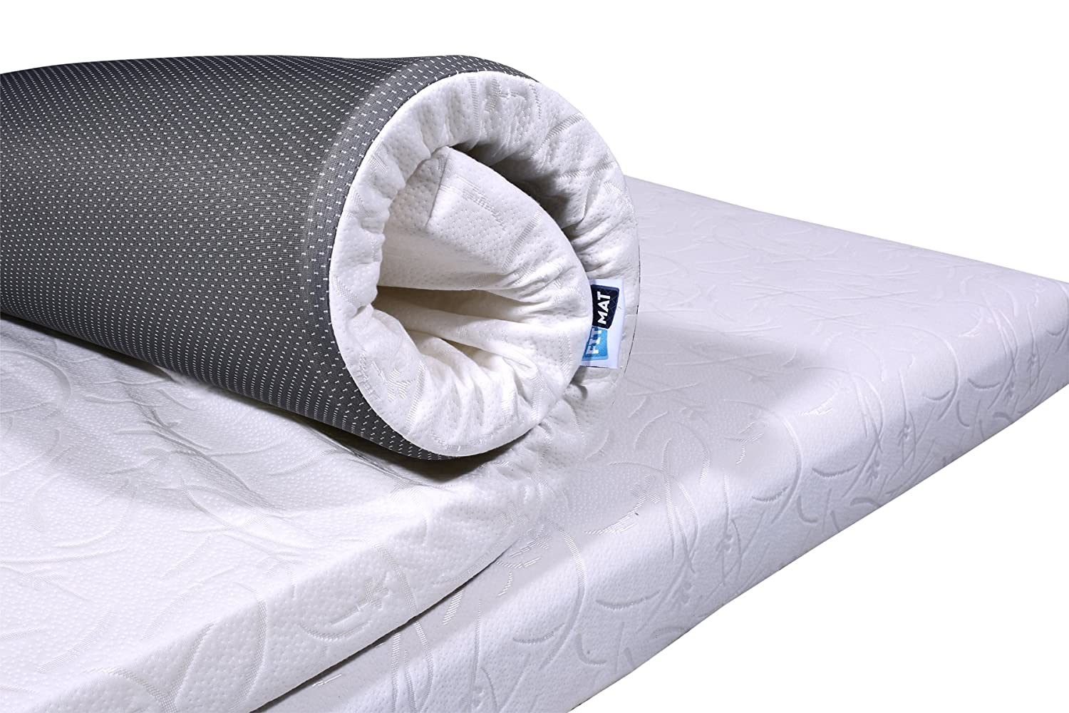 FITMAT Memory Foam Mattress Topper with Cover for Back Pain