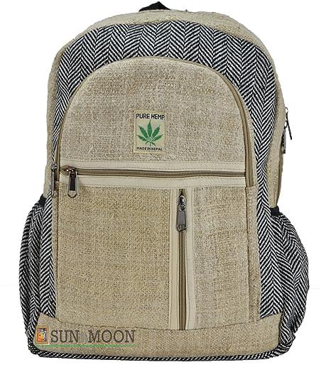 Del Himalaya cáñamo lienzo mochila bolsa de la escuela – 100% Pure mochila de cáñamo