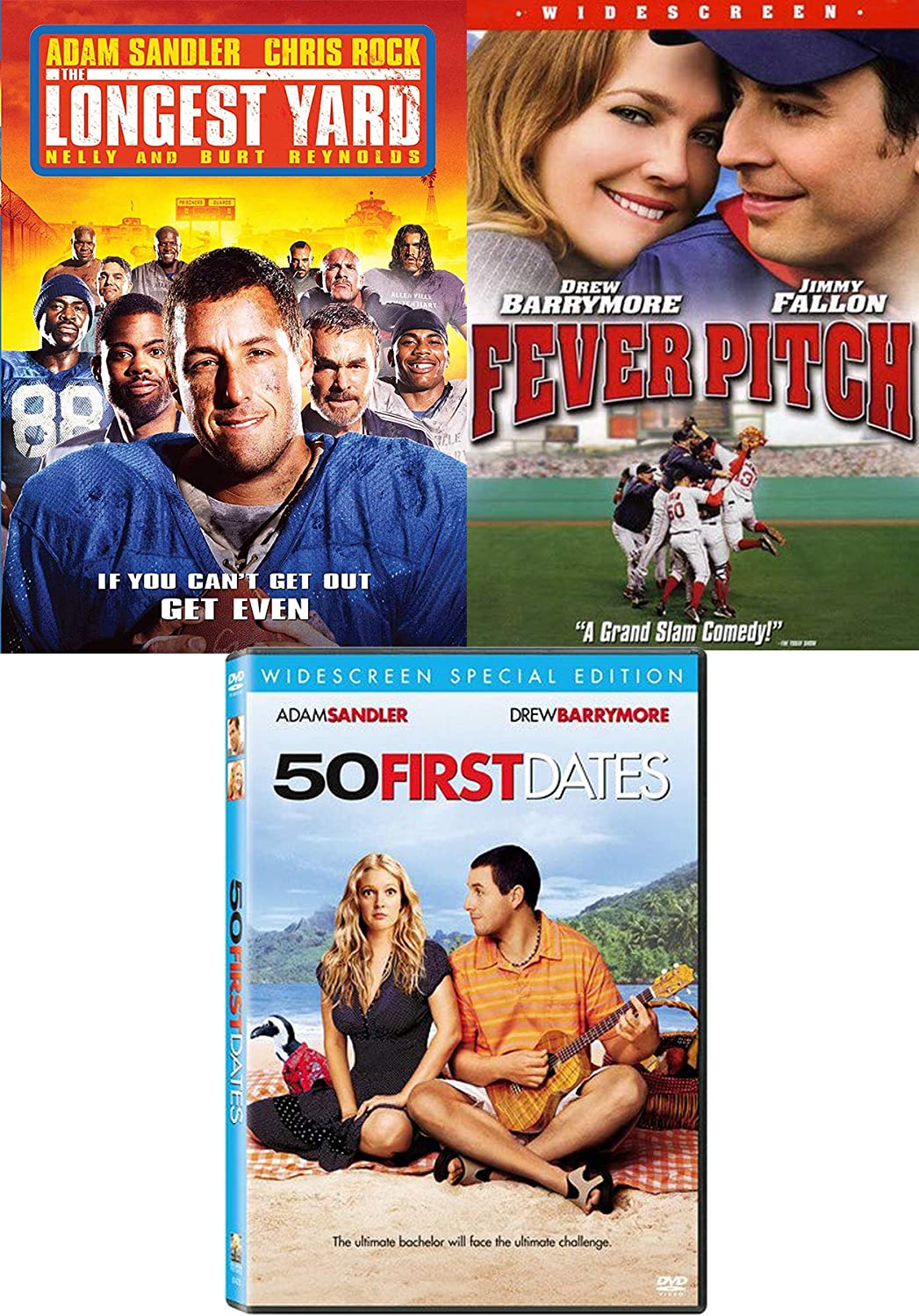 Game Love Adam Sandler Drew Barrymore 50 First Dates Fever Pitch Baseball Football Longest Yard Comedy Triple Feature Bundle Movie Collection 3 Dvd Set Adam Sandler Drew Barrymore Burt