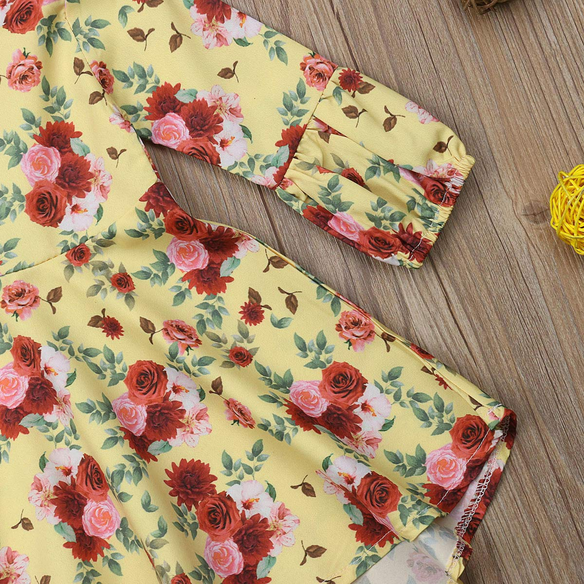 Lamuusaa Infant Baby Kid Girls Floral Dress Long Sleeve Ruffled Princess Party Dress Fall Winter Clothes 6M-5Y