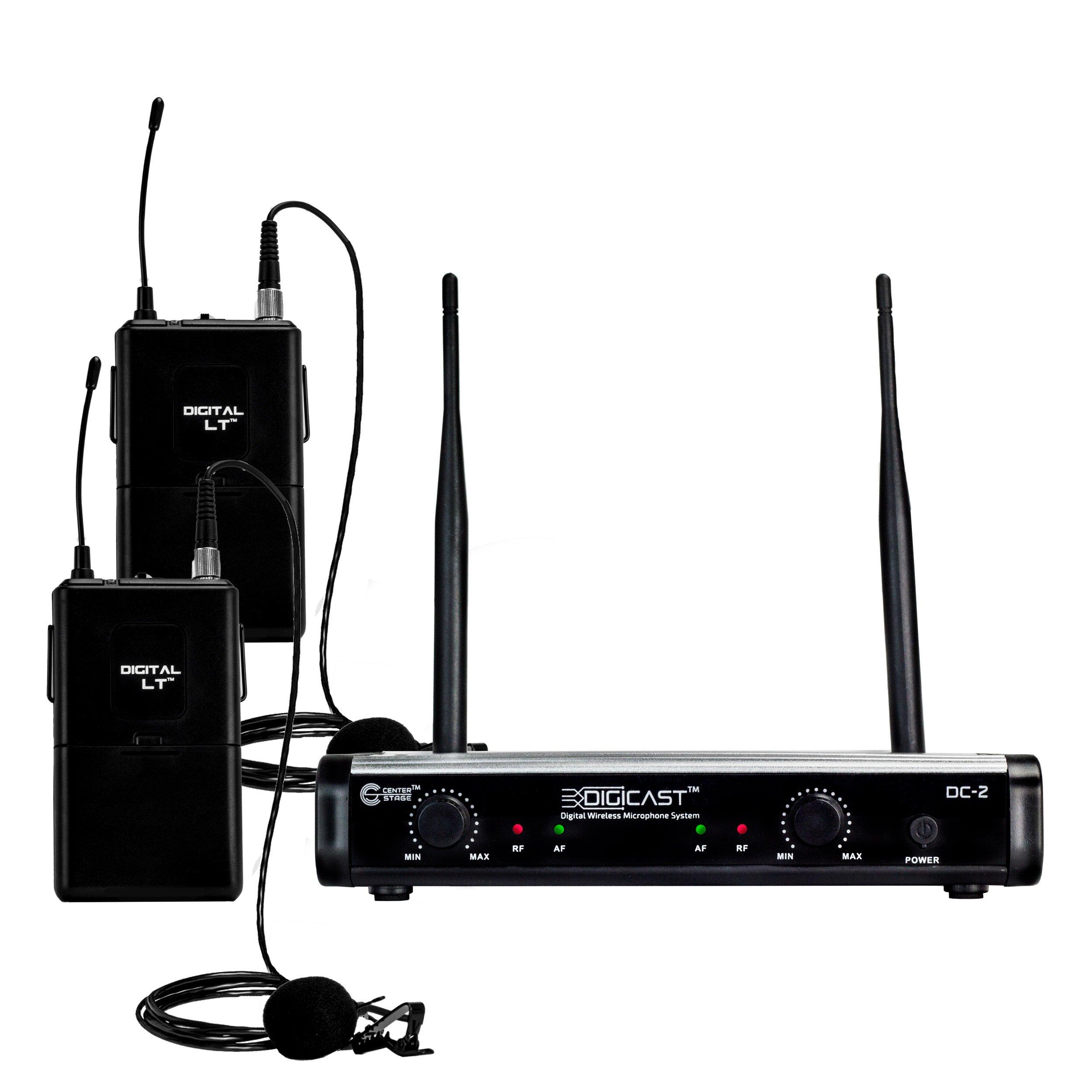 CenterStage DigiCast DC-2 Dual Digital Wireless Lapel Microphone System – 300 ft range – 48kHz / 24 bit - Simple set up – Detailed sound