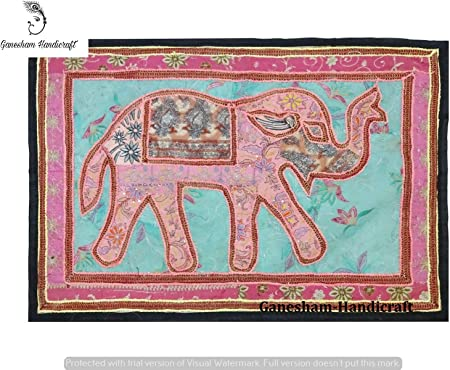 Hecho a mano indio Vintage elefante Patchwork Decoración del hogar ...