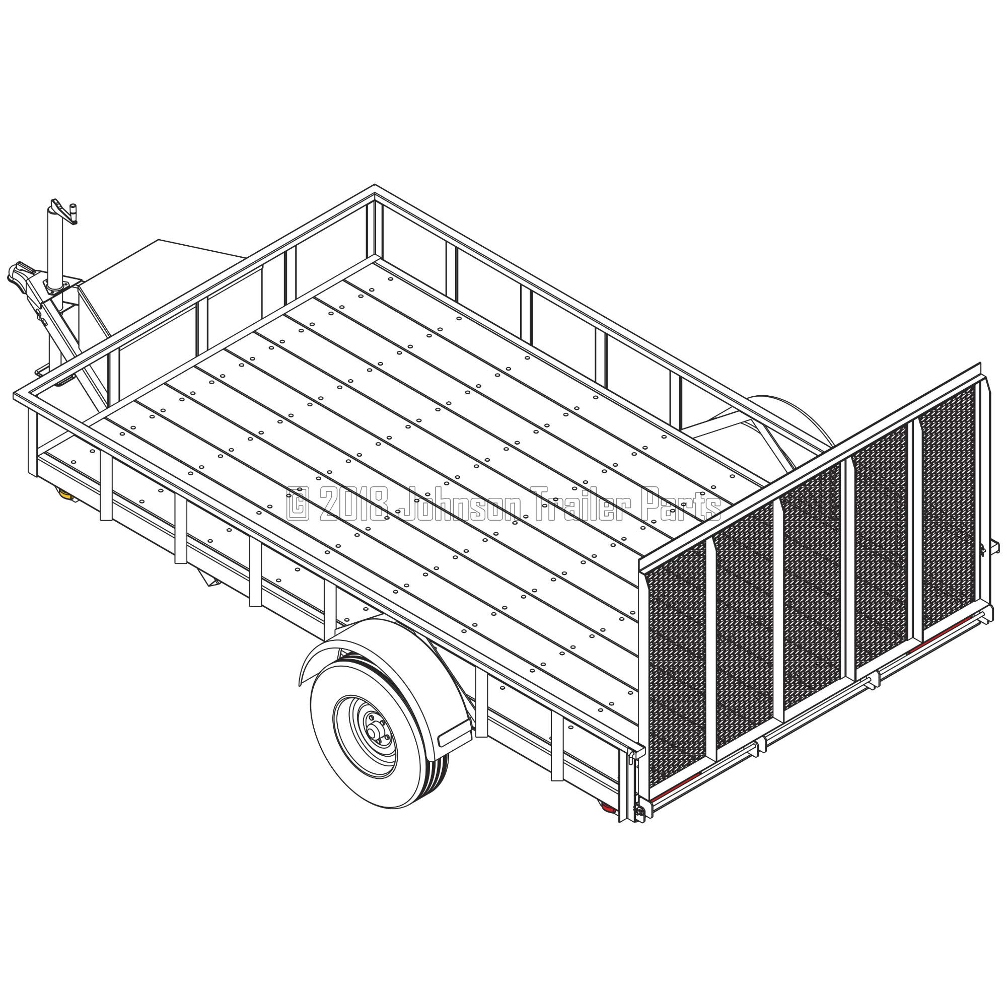 6′ 10'' x 12′ Utility Trailer Plans - 3,500 lb Capacity | Trailer Blueprints Model U82-144-35J by Johnson Trailer Parts