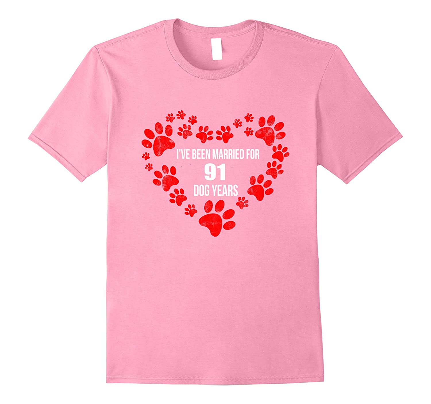 13th Wedding Anniversary T-Shirt 91 Dog Years Gift-TH
