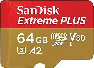 SanDisk SDSQXBZ-064G-GN6MA Extreme Plus - Tarjeta de Memoria microSDXC de 64GB con Adaptador SD, A2, hasta 170MB/s, Class 10, U3 y V30, Oro/Rojo