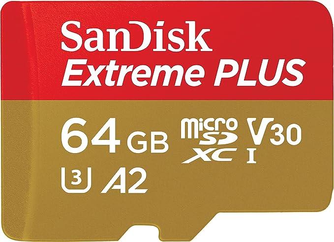 TALLA 64 GB. SanDisk SDSQXBZ-064G-GN6MA Extreme Plus - Tarjeta de Memoria microSDXC de 64GB con Adaptador SD, A2, hasta 170MB/s, Class 10, U3 y V30, Oro/Rojo