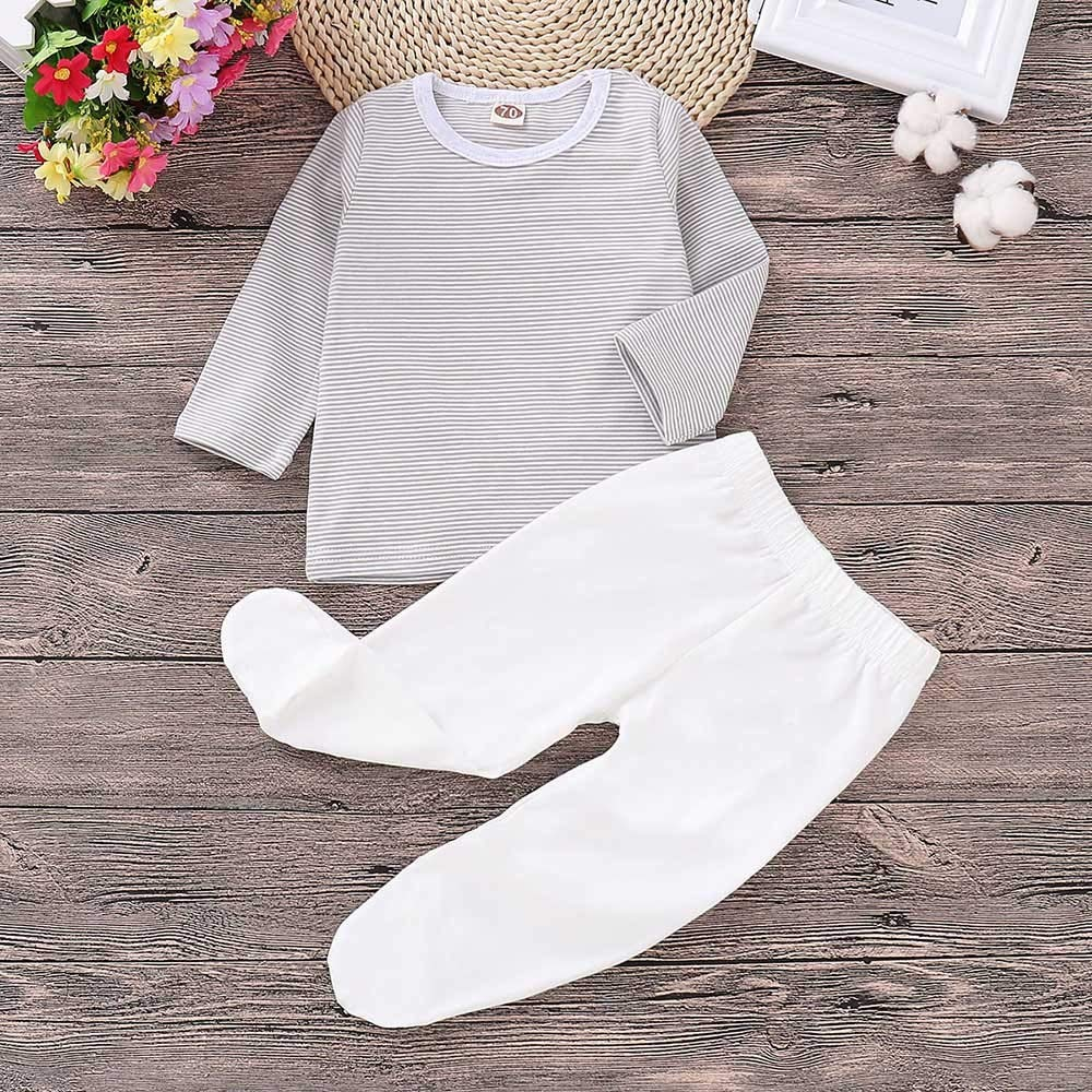 Onefa 2PCS Toddler Newborn Baby New Long Sleeves Stripe T-Shirt Top+Pants Set Outfit