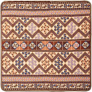 Turathna Cotton Brown Handmade Cross Stitch Classic Cushion - 1 Piece