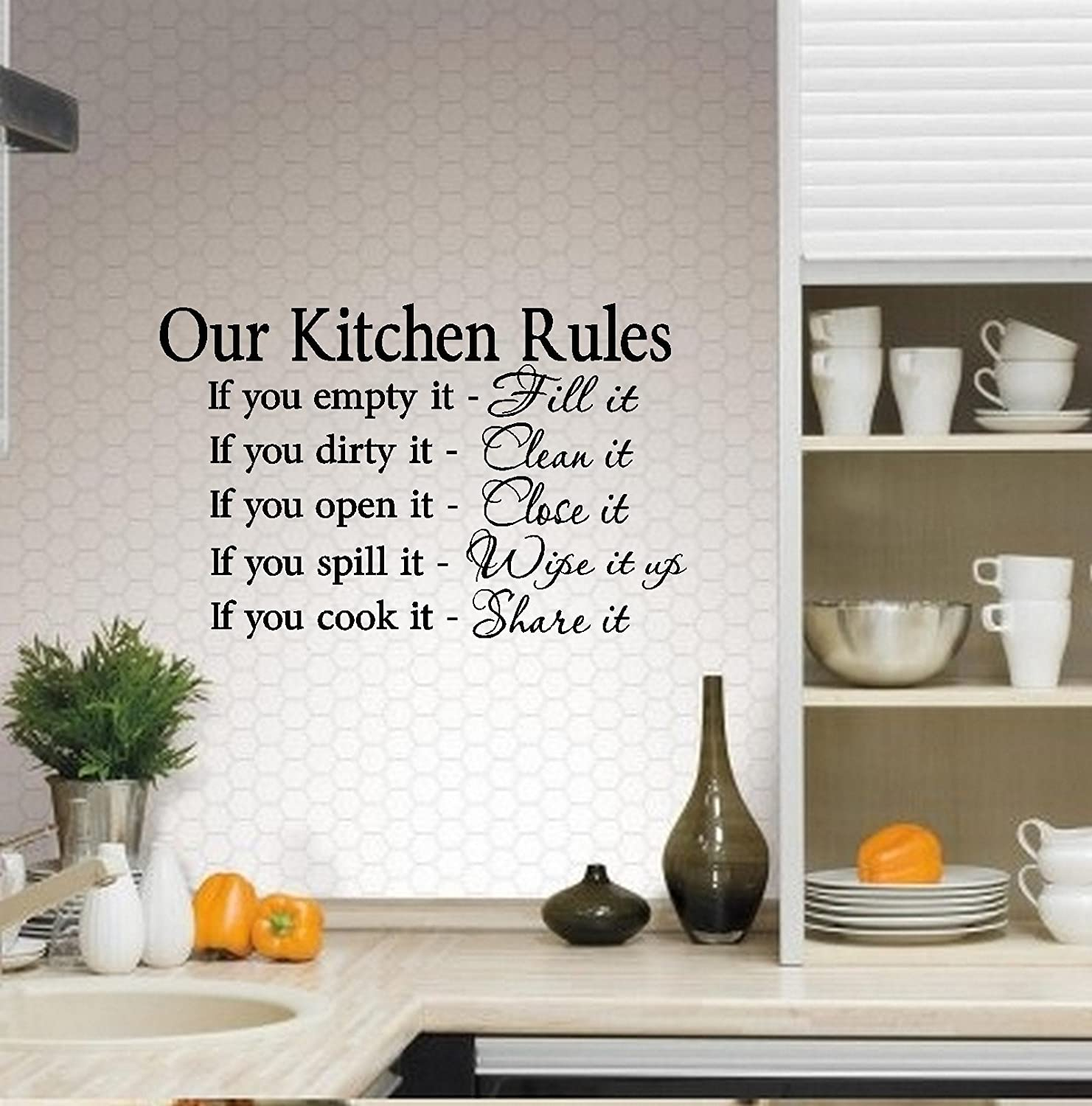 "Amazon OUR KITCHEN RULES WALL DECAL 13"" X 20 5"" Home & Kitchen"