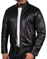 0da2b3803eb9 Mens Leather Biker Jacket Black Vintage Look Biker Style Crinkle Retro BNWT