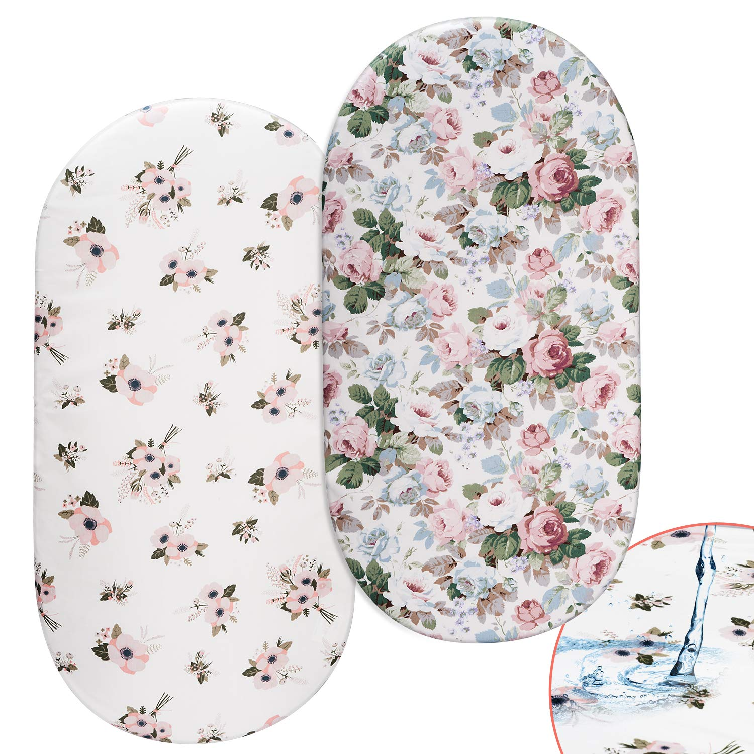 Floral Bassinet Sheets, Momcozy 2 Pack Waterproof Sheet Set for Baby Girls, Fit for Bassinet Mattress Pad Cover, Like Oval Halo, Chicco Lullago, Arms Reach, Ingenuity by Momcozy