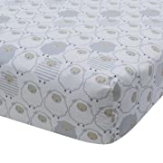 Lambs & Ivy Goodnight Sheep Cotton Fitted Crib Sheet - White/Gray/Beige