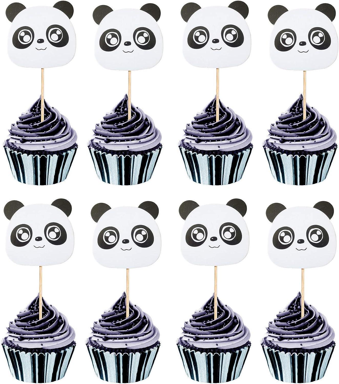 Astra Gourmet 24pcs Panda Cupcake Toppers Cupcake Picks Food Fruit Picks for Birthday Baby Shower Cake Decorations
