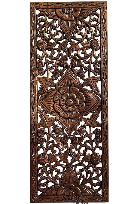 Amazon Com Lotus Carved Teak Wood Wall Art Panel Asian